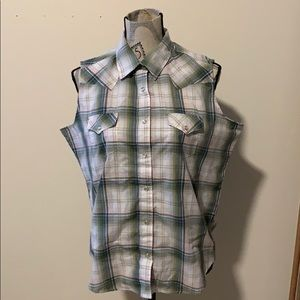 NWOT Wrangler Tank Top sz Lg green plaid